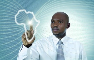 African business man working in virtual environment, Studio Shot