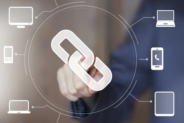Businessman push web button link computer