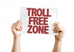 Troll Free Zone placard isolated on white