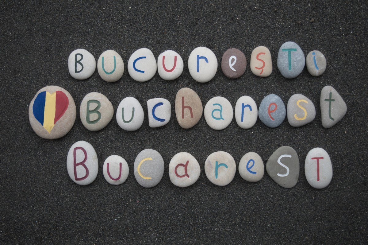 Bucuresti, Bucharest, Bucarest, triple souvenir on stones over volcanic sand